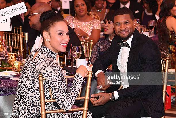 Grace Miguel and Usher Raymond attend 33rd Annual UNCF Mayor's Masked Ball at Atlanta Marriott Marquis on December 17, 2016 in Atlanta, Georgia.