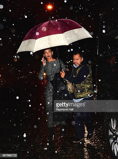 Grace Miguel is seen in walking in the rain in Soho on November 19, 2015 in New York City.