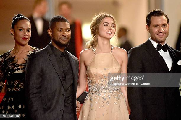 """Grace Miguel, Usher, Ana de Armas and Edgar Ramirez attend the """"Hands Of Stone"""" Premiere during the annual 69th Cannes Film Festival at Palais des..."""