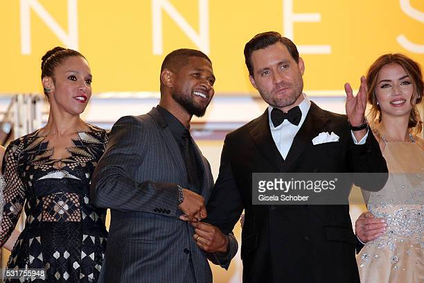"""Grace Miguel, Usher, Edgar Ramirez and Ana de Armas attend the """"Hands Of Stone"""" premiere during the 69th annual Cannes Film Festival at the Palais..."""