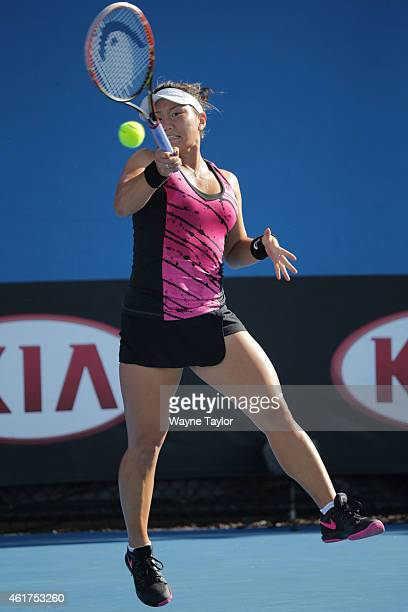 Grace Min of the United States plays a forehand in her first round match against Sara Errani of Italy during day one of the 2015 Australian Open at...
