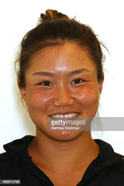 Grace Min of the United States poses during previews ahead of the French Open at Roland Garros on May 23 2014 in Paris France