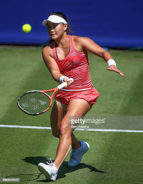 Grace Min of The USA hits a forehand during the qualifying match against Samantha Murray of Great Britain at Edgbaston Priory Club on June 17 2017 in...