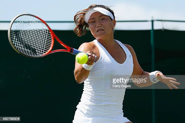 Grace Min of the USA in action during her first round qualifying match against Florencia Molinero of Argentina on day two of the Wimbledon...