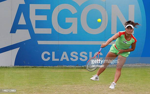 Grace Min of the USA serves during day two of the AEGON Classic at Edgbaston Priory Club on June 12 2012 in Birmingham England