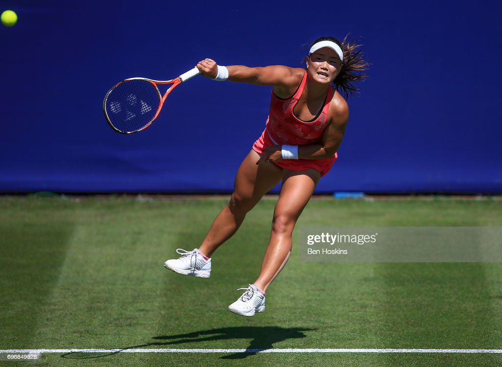 Grace Min of The USA serves during the qualifying match against Samantha Murray of Great Britain at Edgbaston Priory Club on June 17, 2017 in Birmingham, England.