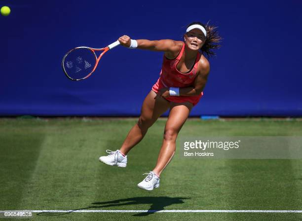 Grace Min of The USA serves during the qualifying match against Samantha Murray of Great Britain at Edgbaston Priory Club on June 17 2017 in...