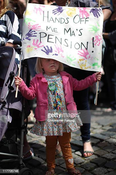 Grace Molineux aged three joins public sector workers taking part in a march through central Liverpool on June 30 2011 in Liverpool England Hundreds...
