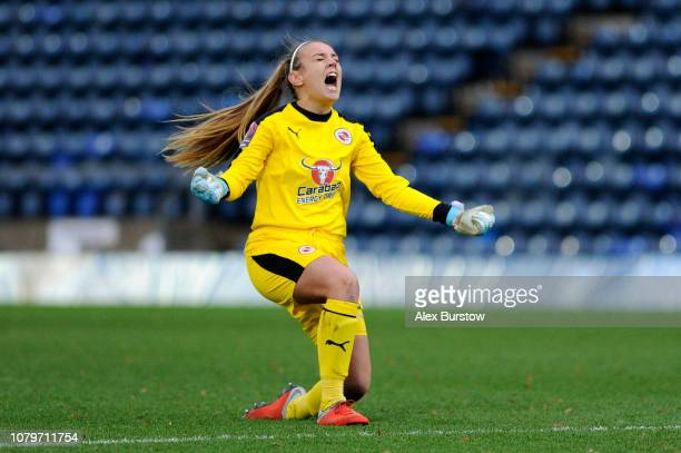 Grace Moloney of Reading celebrates her team's first goal during the FA Women's Super League match between Reading FC Women and Liverpool FC Women at...