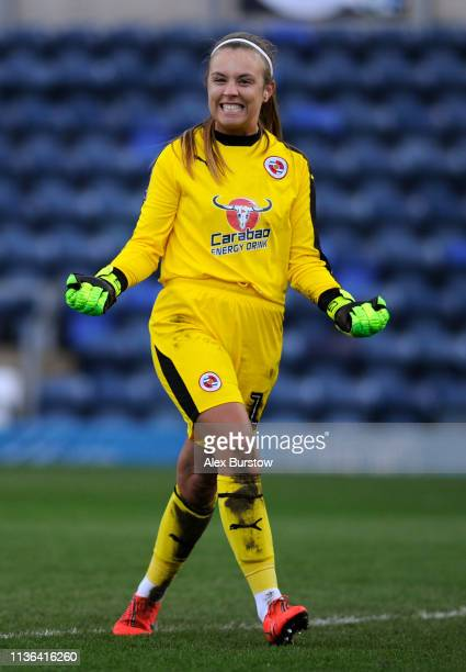 Grace Moloney of Reading celebrates victory after extratime in the SSE Women's FA Cup Quarter Final match between Reading Women and Manchester United...