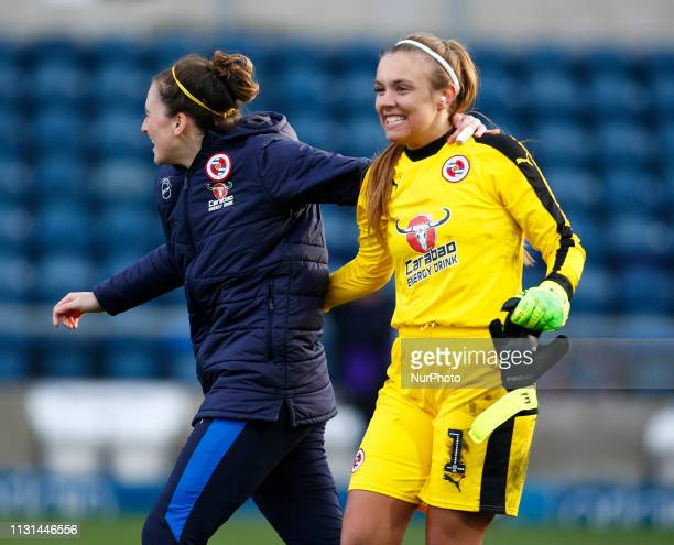 Grace Moloney of Reading FC Women celebrate they win during The SSE Womens FA Cup Quarter Final match between Reading FC Women and Manchester United...