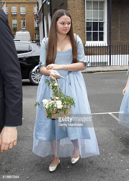Grace Murdoch arrive at Spencer House for their wedding reception on March 5 2016 in London England