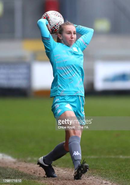 Grace Neville of London City takes a throw in during the Barclays FA Women's Championship match between London City Lionesses and Blackburn Ladies at...