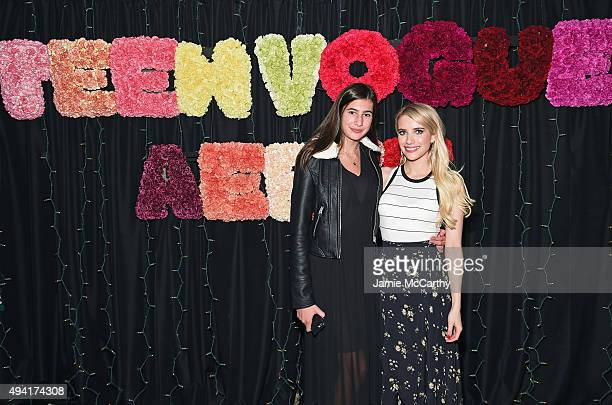 Grace Nickels and actress Emma Roberts attend as Teen Vogue and Aerie celebrate Emma Roberts November Cover at 58 Gansevoort on October 24 2015 in...