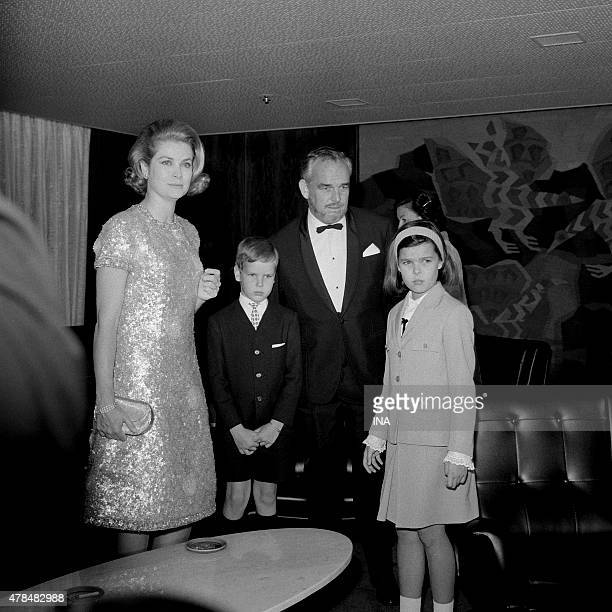 Grace of Monaco prince Rainier Albert and Caroline during the inaugural cruise of the Renaissance
