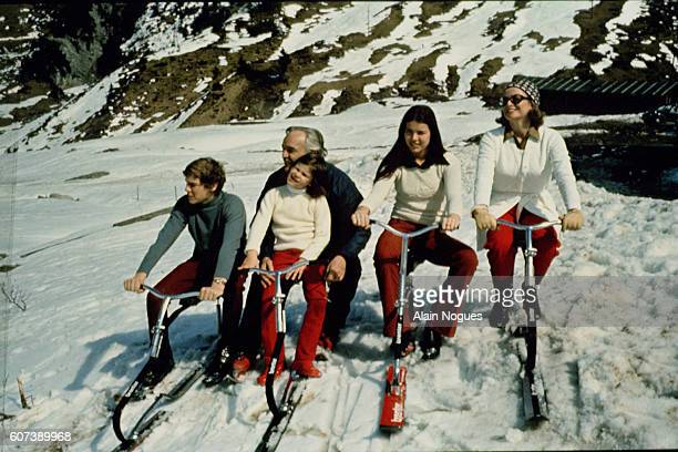 Grace of Monaco Prince Rainier Albert and Stephanie on a skiing holiday in 1960