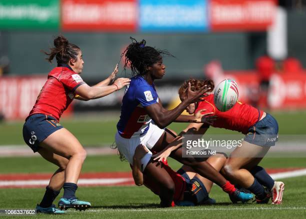 Grace Okemba of France is tackled by Barbara Pla of Spain on day one of the Emirates Dubai Rugby Sevens HSBC World Rugby Sevens Series at The Sevens...