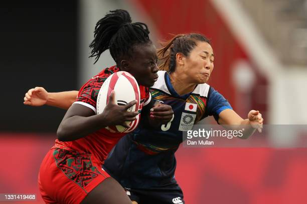 Grace Okulu of Team Kenya is tackled by Miyu Shirako of Team Japan in the Women's Placing 9-12 match between Team Kenya and Team Japan during the...
