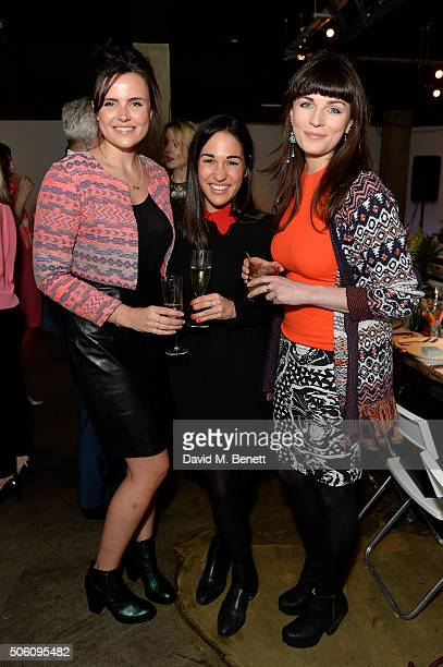Grace O'Leary, Zara Martin and Emer Kenny attend Smashbox Influencer Dinner hosted by Lauren Laverne on January 21, 2016 in London, England.