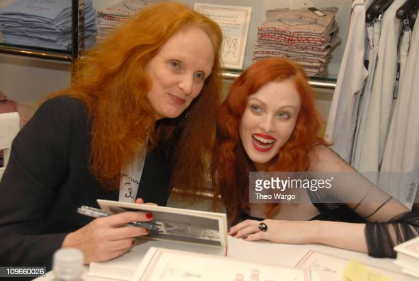 Grace Paddington and Karen Elson during Marc Jacobs and Robert Duffy Host Book Signing of 'The Catwalk Cats' by Grace Coddington at Marc Jacobs in...