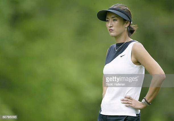Grace Park of Korea waits on the fifth hole during the final round of the ChickfilA Charity Championship at Eagle's Landing Country Club on May 2...