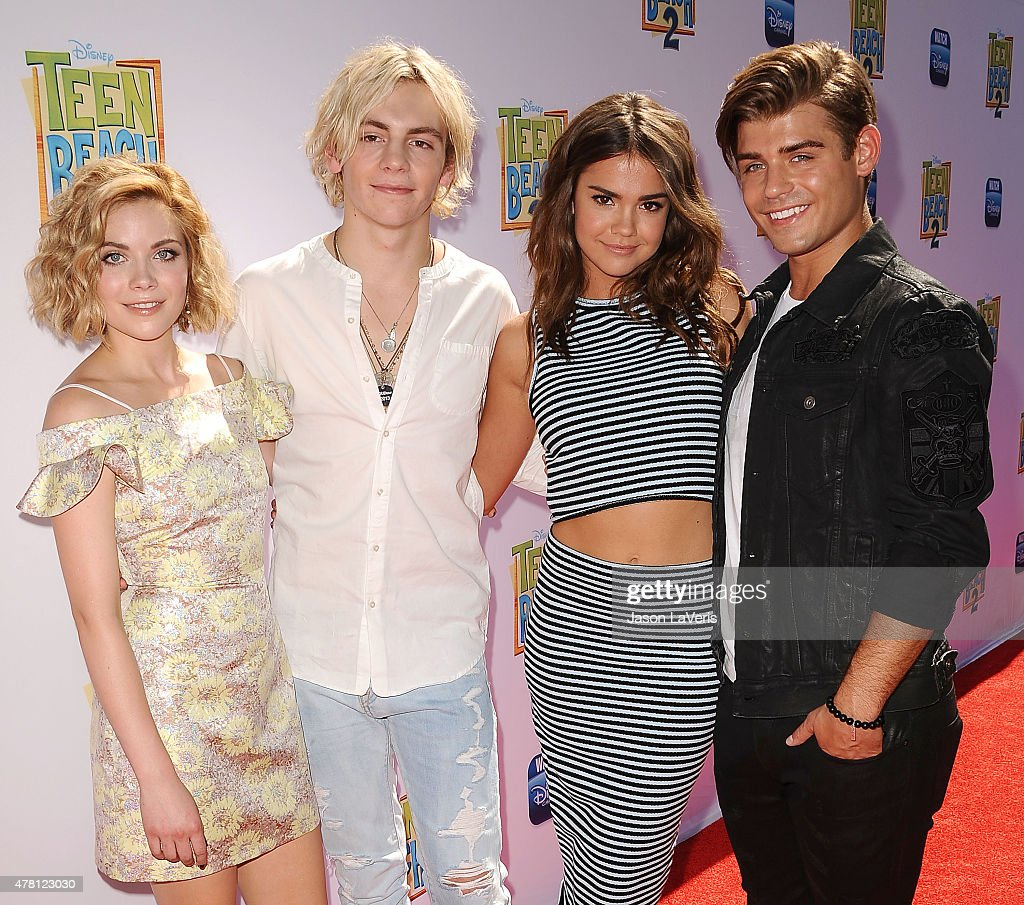 Grace Phipps, Ross Lynch, Maia Mitchell and Garrett Clayton attend the premiere of 'Teen Beach 2' at Walt Disney Studios on June 22, 2015 in Burbank, California.
