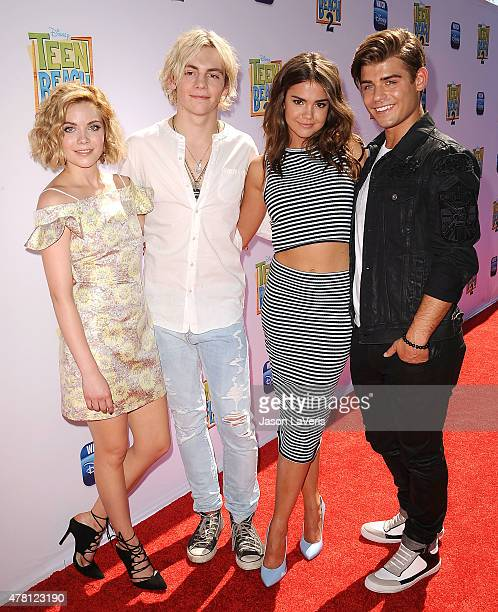Grace Phipps Ross Lynch Maia Mitchell and Garrett Clayton attend the premiere of Teen Beach 2 at Walt Disney Studios on June 22 2015 in Burbank...