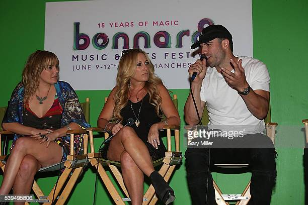 Grace Potter Lee Ann Womack and Sam Hunt speak during the Saturday press conference on the third day of the Bonnaroo Music and Arts Festival on June...