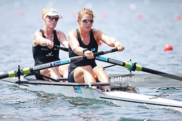 Grace Prendergast and Kerri Glower of New Zealand compete in the Women's Pair Semifinal during Day 2 of the 2015 World Rowing Cup III on Lucerne...