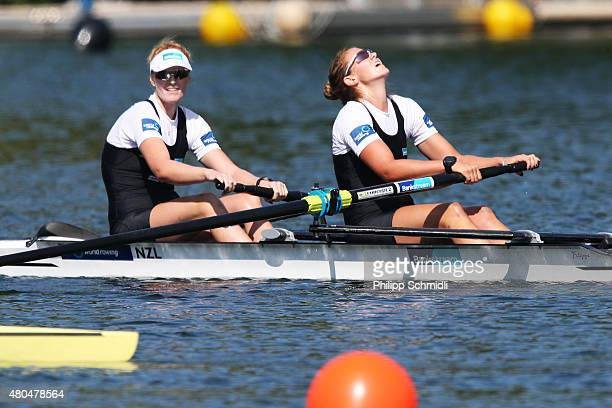 Grace Prendergast and Kerri Gowler of New Zealand react after the Women's Pair Final A during Day 3 of the 2015 World Rowing Cup III on Lucerne...