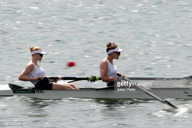 Grace Prendergast and Kerri Gowler of Team New Zealand compete during the Women's Pair Final A on day six of the Tokyo 2020 Olympic Games at Sea...