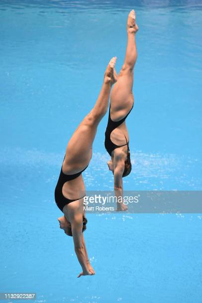 Grace Reid and Katherine Torrance of Great Britain compete during the Women's 3m Synchro Springboard Final on day one of the FINA Diving World Cup...