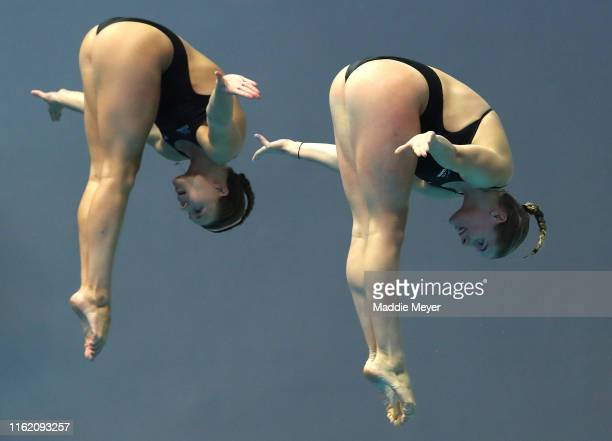 Grace Reid and Katherine Torrance of Great Britain compete in the Women's 3m Synchro Springboard Final on day four of the Gwangju 2019 FINA World...