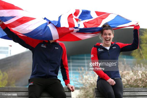 Grace Reid and Matty Lee of Great Britain pose for a portrait during a Great Britain Diving Team Launch in the London Aquatics Centre at Queen...
