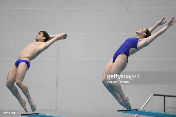 Grace Reid and Thomas Daley of Great Britain compete in the Mixed 3m Synchro Springboard final during day three of the FINA Diving World Series Fuji...