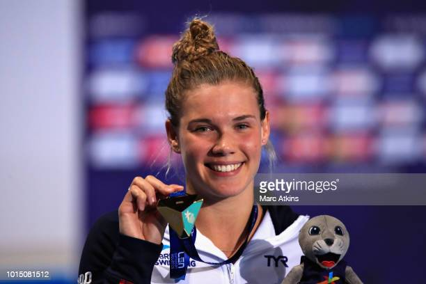 Grace Reid of Great Britain celebrates winning gold in the Women's 3 metre Springboard Final during the diving on Day Ten of the European...