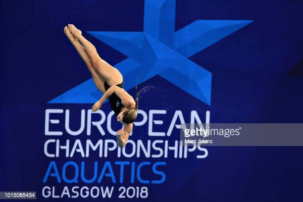 Grace Reid of Great Britain performs her fifth and final dive in the Women's 3 metre Springboard final during the diving on Day Ten of the European...