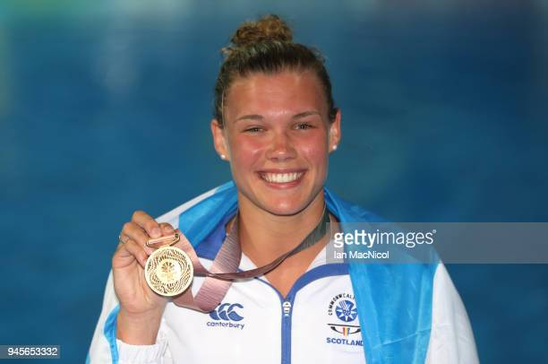 Grace Reid of Scotland is seen after winning the Women's 1m Springboard final during Diving on day nine of the Gold Coast 2018 Commonwealth Games at...