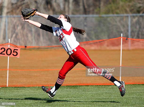 Grace Rende of South Portland reaches to make the final out of the third inning at Biddeford's Rotary Park