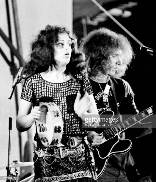 Grace Slick and Jorma Kaukonen from Jefferson Airplane perform live at Kralingen Festival in Rotterdam Holland on June 26 1970