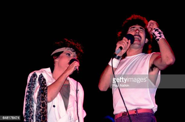 Grace Slick and Mickey Thomas of the Jefferson Starship at the Poplar Creek Music Theater in Hoffman Estates Illinois August 25 1984