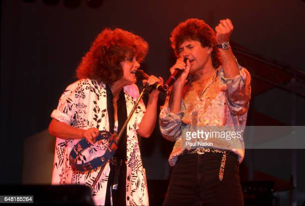 Grace Slick and Mickey Thomas of the Jefferson Starship at the Poplar Creek Music Theater in Hoffman Estates Illinois August 1 1986