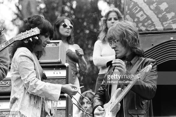 Grace Slick and Paul Kantner of Jefferson Airplane onstage at Golden Gate Park in 1975 in San Francisco California