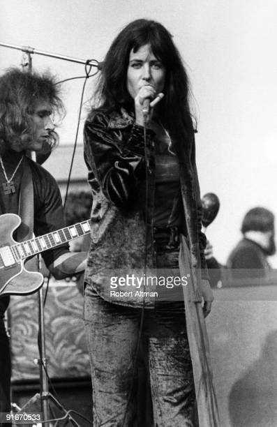 Grace Slick of the Jefferson Airplane performs onstage at The Altamont Speedway on December 6 1969 in Livermore California