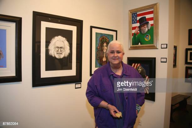 Grace Slick singer for the Jefferson Airplane and Jefferson Starship poses for a portrait at her art opening at Gallery 319 in Santa Monica...
