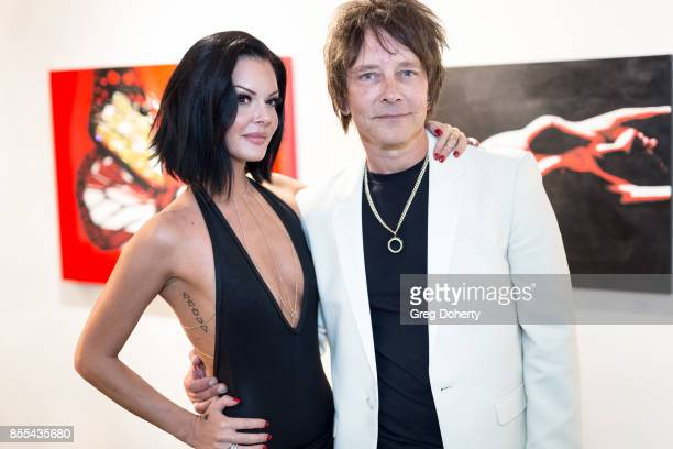 Grace Stanley and Artist and Guitar Player Billy Morrison attend the Billy Morrison Aude Somnia Solo Exhibition at Elisabeth Weinstock on September...