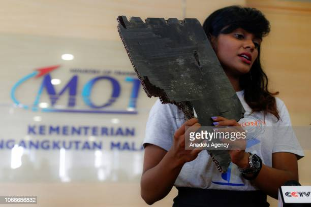 Grace Subathirai Nathan daughter of MH370 passenger Anne Daisy shows a serial number of debris found in Madagascar believed to be from flight MH370...