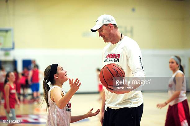 Grace Talbot tries to explain the reason why she missed her spot in a play to coach and former NBA player Keith Van Horn at 24 Hour Fitness on...