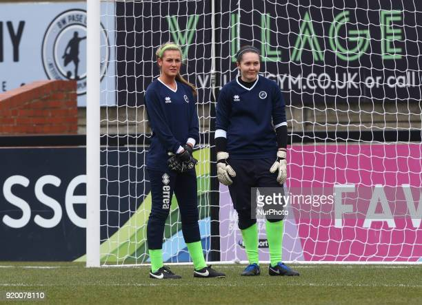 LR Grace Taylor and Sarah Quantrill of Millwall Lionesses L during The FA Women's Cup Fifth Round match between Arsenal against Millwall Lionesses at...