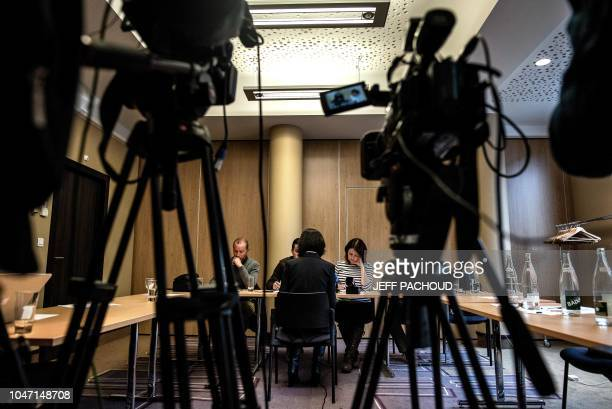 Grace the wife of the missing Interpol president Meng Hongwey talks to journalists on October 7 2018 in Lyon during a press conference during which...
